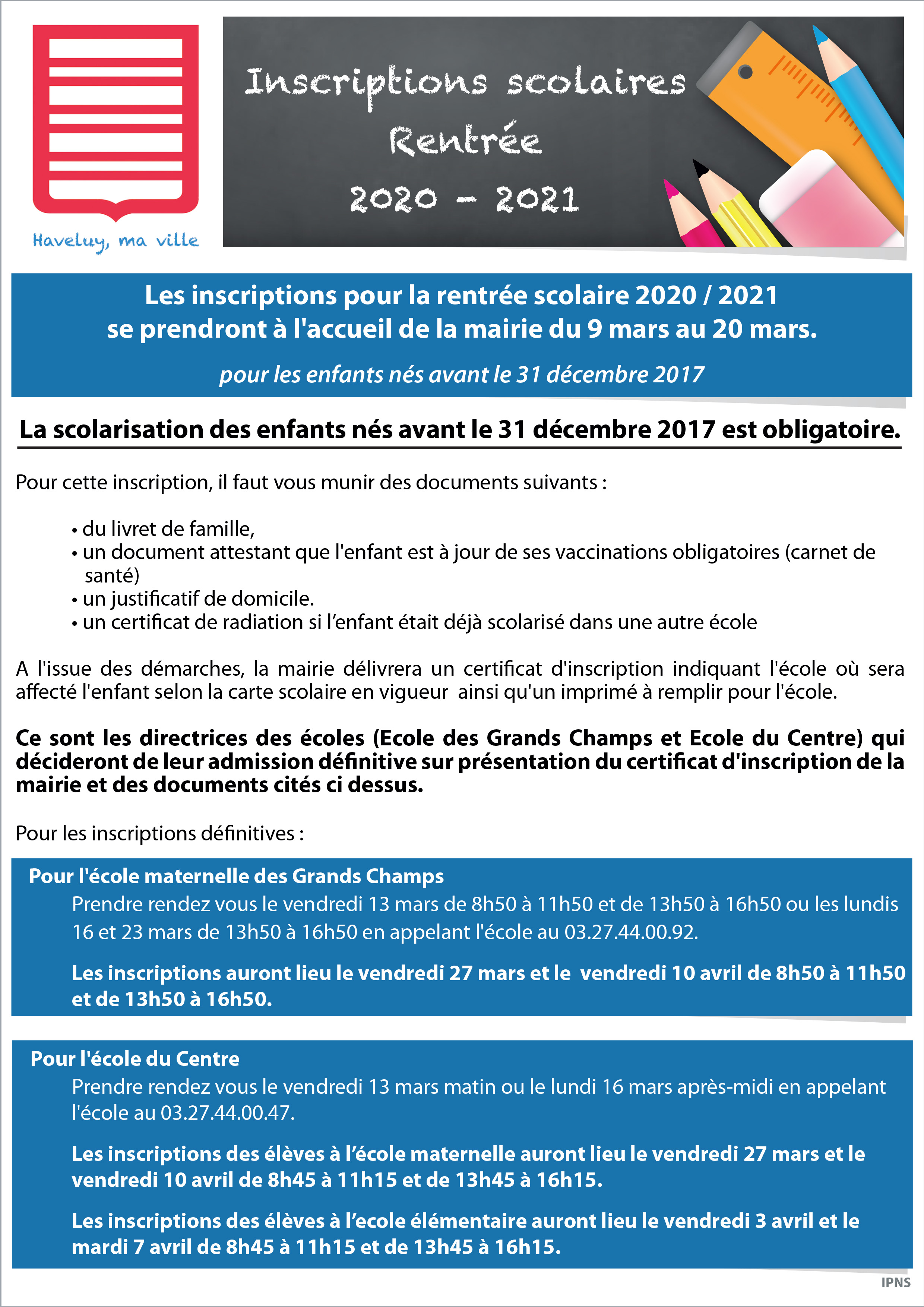 inscriptions scolaires rentree 2020 2021