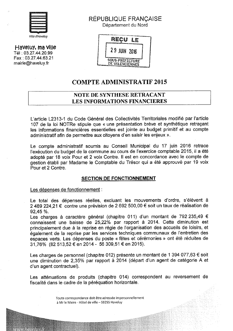 Note de synthese compte administratif 2015