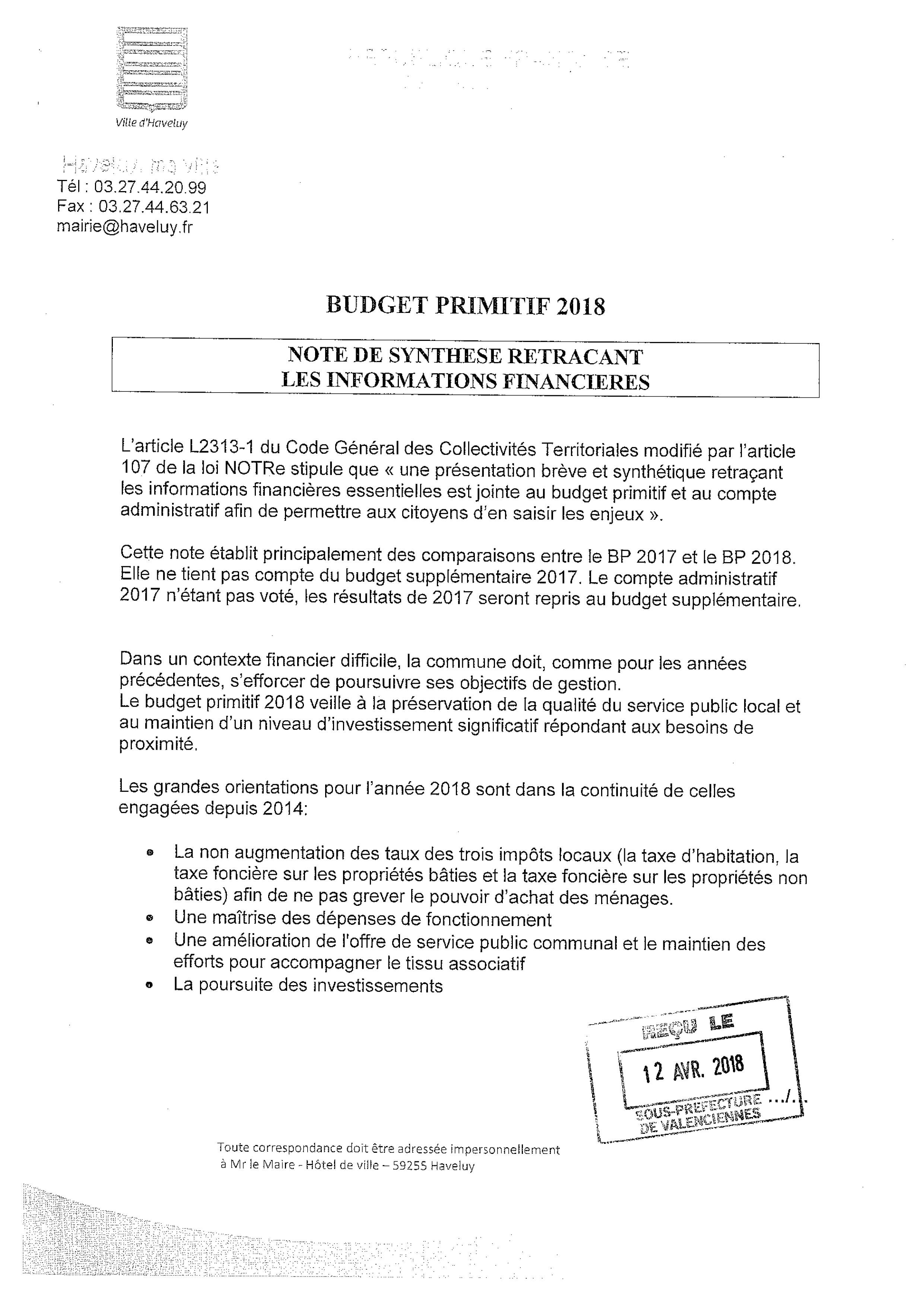 informations financieres budget primitif 2019
